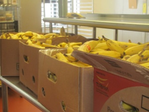 boxes of ripened bananas