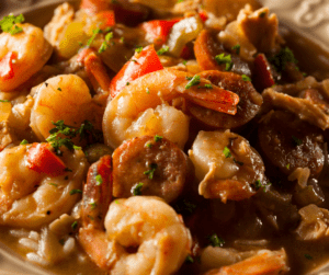 Creamy cajun shrimp and sausage skillet